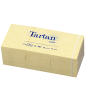 TARTAN™ KARTECZKI SAMOPRZYLEPNE, ŻÓŁTE, 38X51 MM, 12X100 KARTEK
