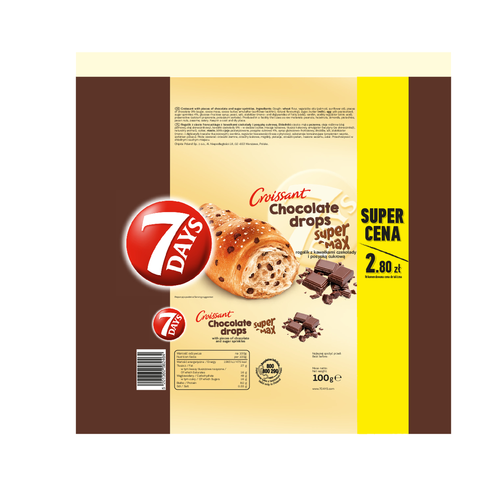 7 DAYS CROISSANT CHOCOLATE DROPS 100G