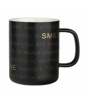 KUBEK 360 ML CZARNY SMILE