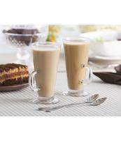 KOMPLET 2 SZKLANEK CAFFE LATTE + 2 ŁYŻECZKI KOKTAJLOWE