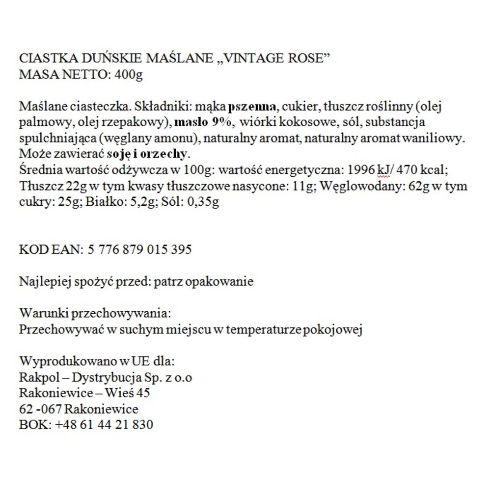 "CIASTKA DUŃSKIE MAŚLANE ""VINTAGE ROSE"" - PUSZKA 400G BISQUINI"