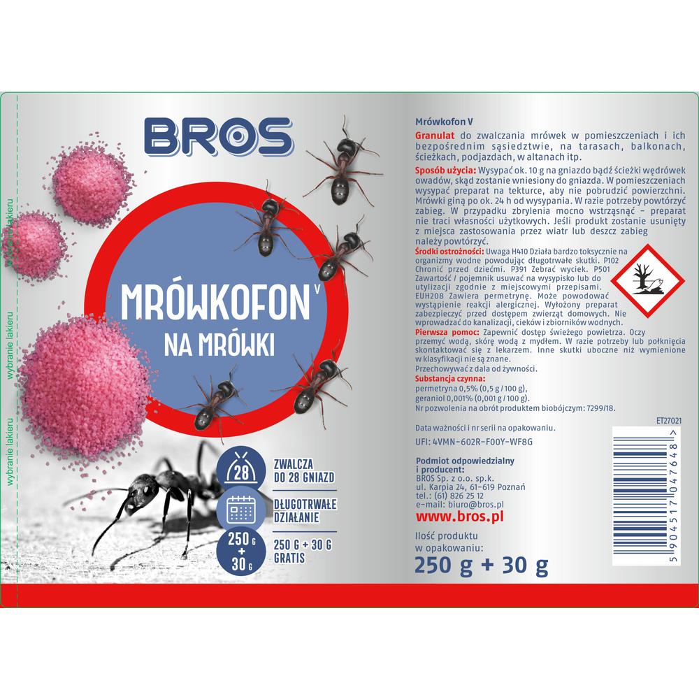 BROS - MRÓWKOFON - ŚRODEK NA MRÓWKI 250G + 30G GRATIS