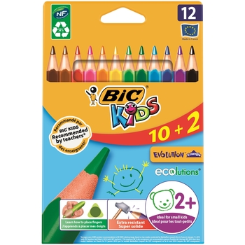 BIC® KIDS EVOLUTION TRIANGLE KREDKI OŁÓWKOWE OPAK. 10+2 GRATIS