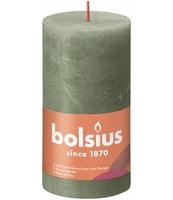 BOLSIUS ŚWIECA PIEŃKOWA RUSTIC 130/68 SHINE ZIELONA OLIWKA