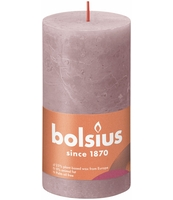 BOLSIUS ŚWIECA PIEŃKOWA RUSTIC 130/68 SHINE PUDROWY RÓŻ