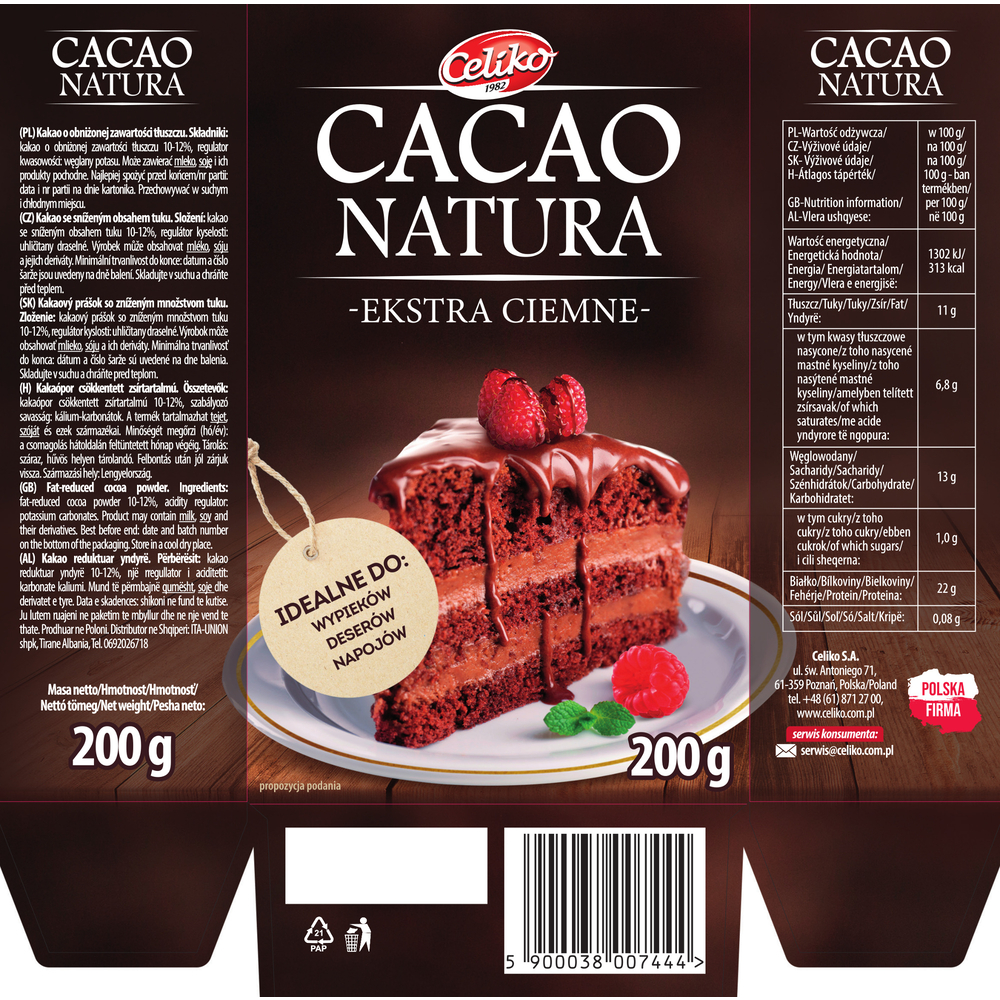CACAO NATURA EXTRA CIEMNE 200G