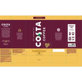 COSTA COFFEE COLOMBIAN ROAST 7 100% ARABICA ZIARNA 500G