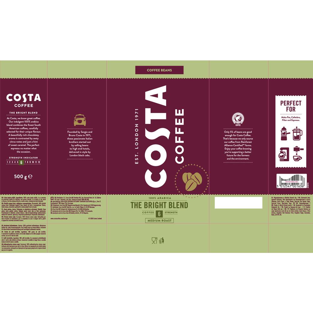 COSTA COFFEE THE BRIGHT BLEND 6 100% ARABICA ZIARNA 500G