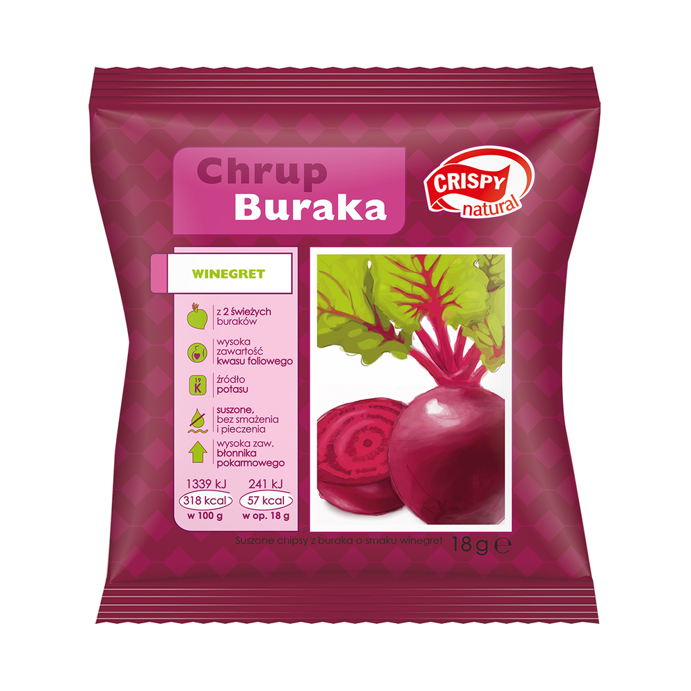CRISPY NATURAL CHIPSY Z BURAKA O SMAKU WINEGRET 18G