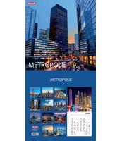 KALENDARZ ŚCIENNY 13 PLANSZOWY 30X30CM MIESIĘCZNY DAN-MARK METROPOLIE / EUROPA
