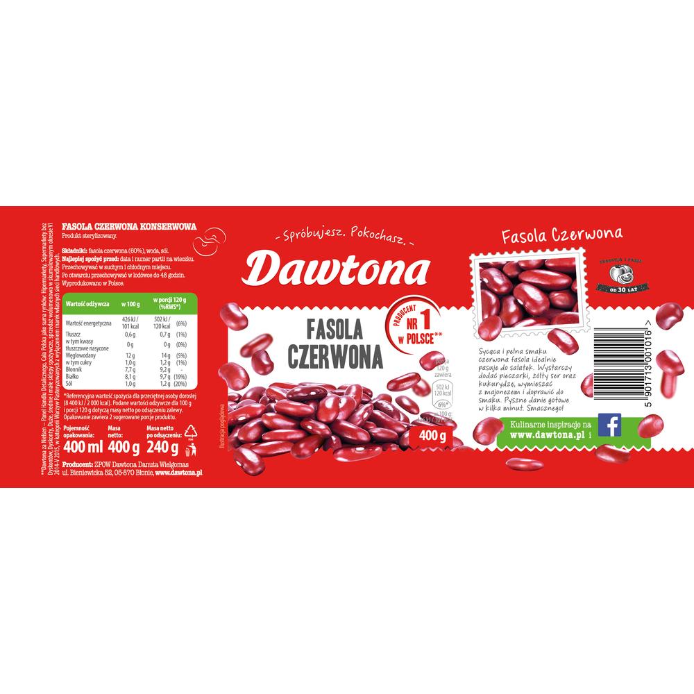 FASOLA CZERWONA KONSERWOWA 400G DAWTONA