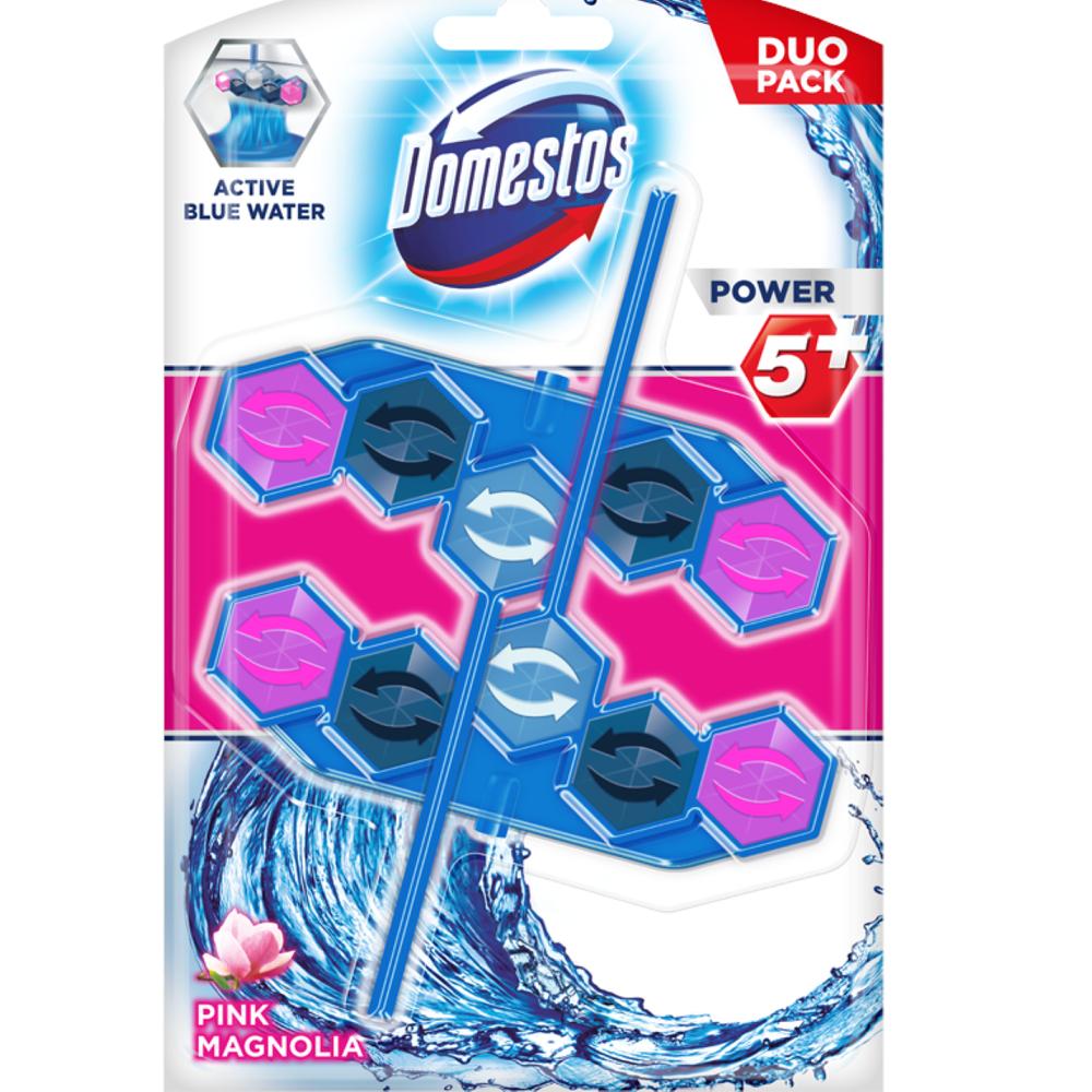KOSTKI DO TOALET DOMESTOS POWER 5+ BLUE WATER - PINK MAGNOLIA
