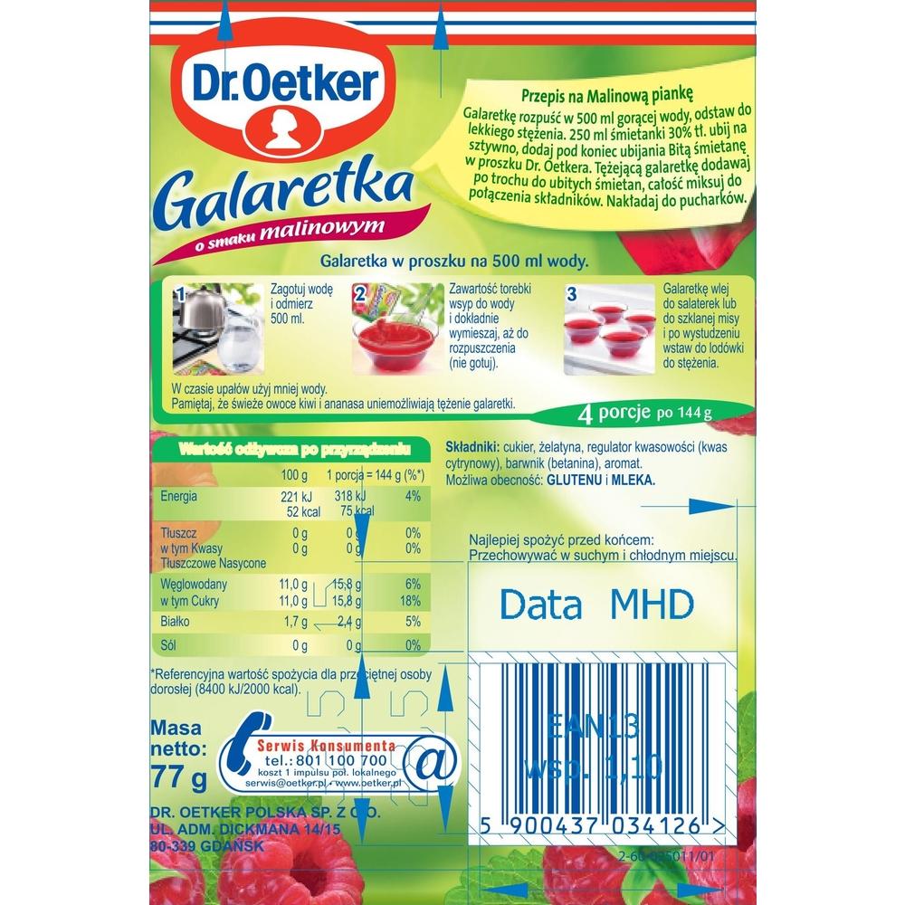 DR. OETKER GALARETKA O SMAKU MALINOWYM 77G