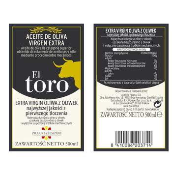 HISZPAŃSKA OLIWA Z OLIWEK EXTRA VIRGIN 500 ML EL TORO