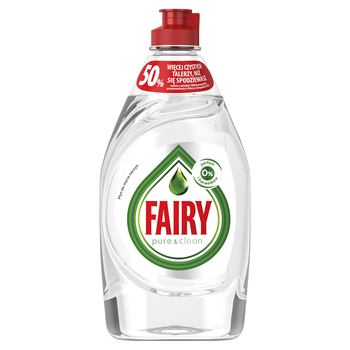 FAIRY PURE & CLEAN PŁYN DO MYCIA NACZYŃ, 0% PERFUM I BARWNIKÓW, 450 ML