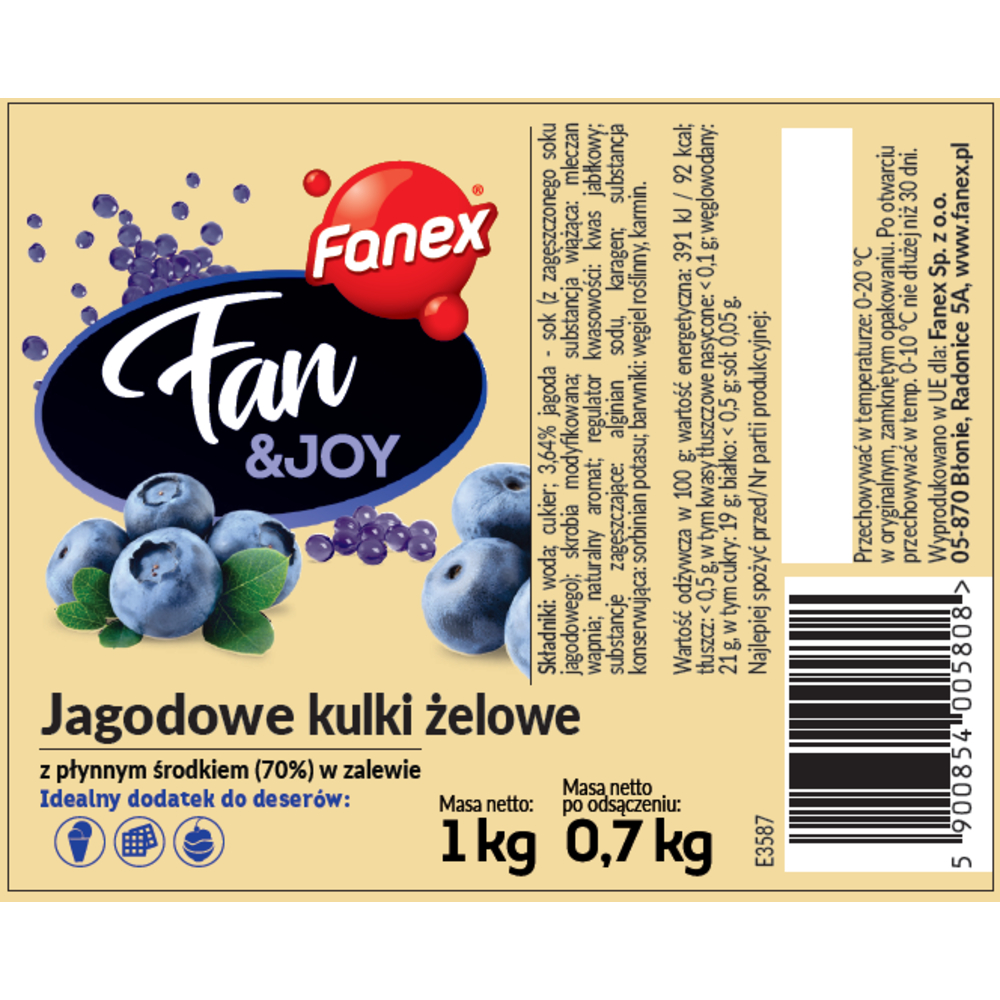 FANEX FAN&JOY JAGODOWE KULKI ŻELOWE 1 KG/0,7 KG