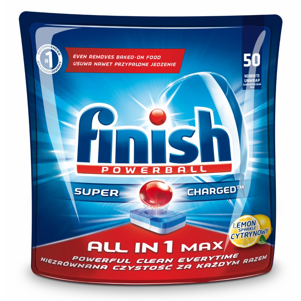 FINISH POWERBALL ALL IN 1 MAX SHINE&PROTECT TABLETKI DO ZMYWAREK CYTRYNOWE 940 G (50 SZTUK)