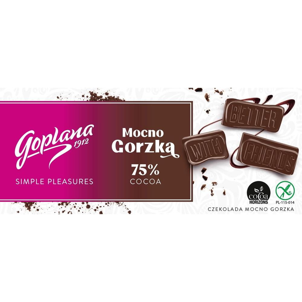 GOPLANA CZEKOLADA MOCNO GORZKA 75% COCOA 90G