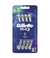 GILLETTE BLUE3 JEDNORAZOWE MASZYNKI DO GOLENIA DLA MĘŻCZYZN, 6+2 SZTUKI