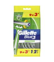 GILLETTE BLUE3 SENSITIVE JEDNORAZOWA MASZYNKA DO GOLENIA DLA MĘŻCZYZN, 12 SZTUK