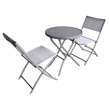 Zestaw Mebli Składanych Stolik 2 Krzesła Szary