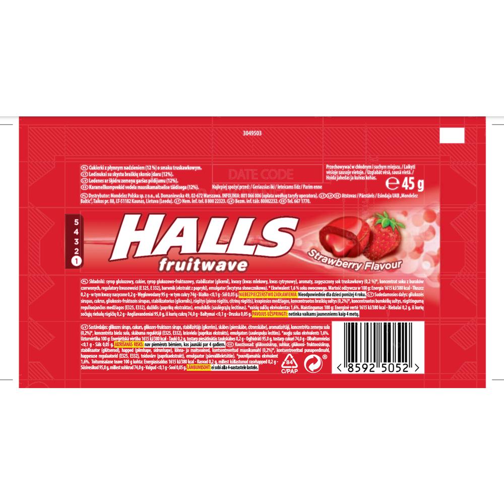 HALLS FRUITWAVE STRAWBERRY 45G