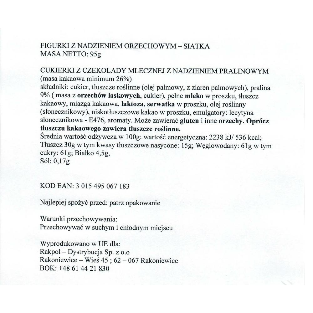 FIGURKI Z NADZIENIEM ORZECHOWYM - SIATKA 95G JACQUOT