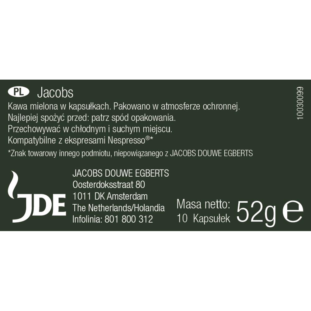 JACOBS LUNGO INTENSO 8 KAWA MIELONA 10 KAPSUŁEK 52 G
