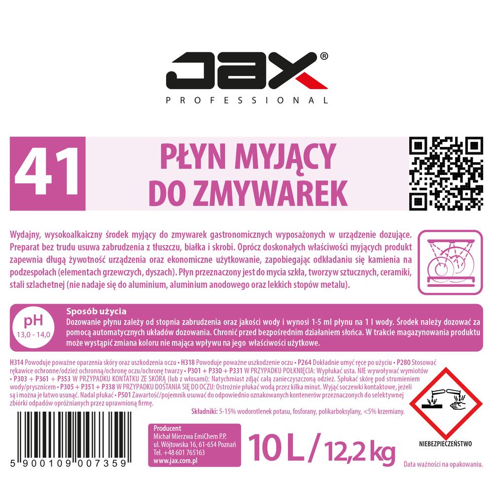 """PROFESJONALNY PŁYN MYJĄCY DO ZMYWAREK BEZ CHLORU JAX PROFESSIONAL """"41"""" 10L"""