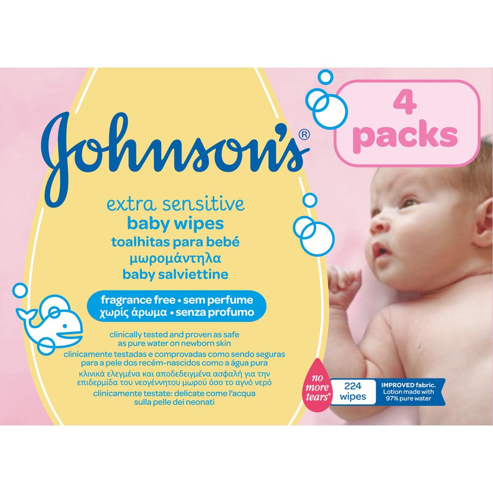 JOHNSON'S BABY BEZZAPACHOWE CHUSTECZKI OCZYSZCZAJĄCE 4X56SZT