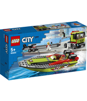 KLOCKI LEGO CITY GREAT VEHICLES TRANSPORTER ŁODZI WYŚCIGOWEJ 60254