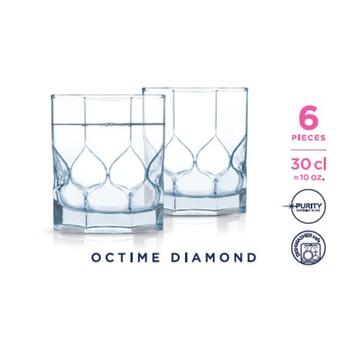 KOMPLET 6 SZKLANEK NISKICH 300 ML OCTIME DIAMOND