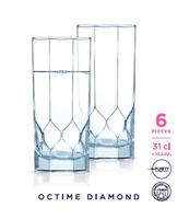 KOMPLET 6 SZKLANEK WYSOKICH 310 ML OCTIME DIAMOND