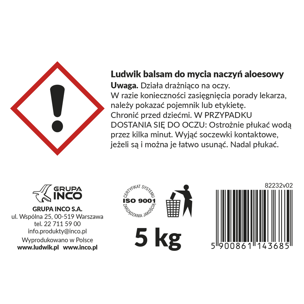 LUDWIK BALSAM DO MYCIA NACZYŃ ALOESOWY 5KG
