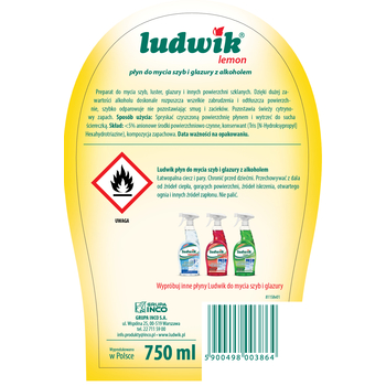 LUDWIK PŁYN DO SZYB I GLAZURY 750 ML - Z ALKOHOLEM LEMON