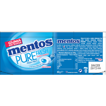 MENTOS PURE FRESH MINT BUTELKA 60G