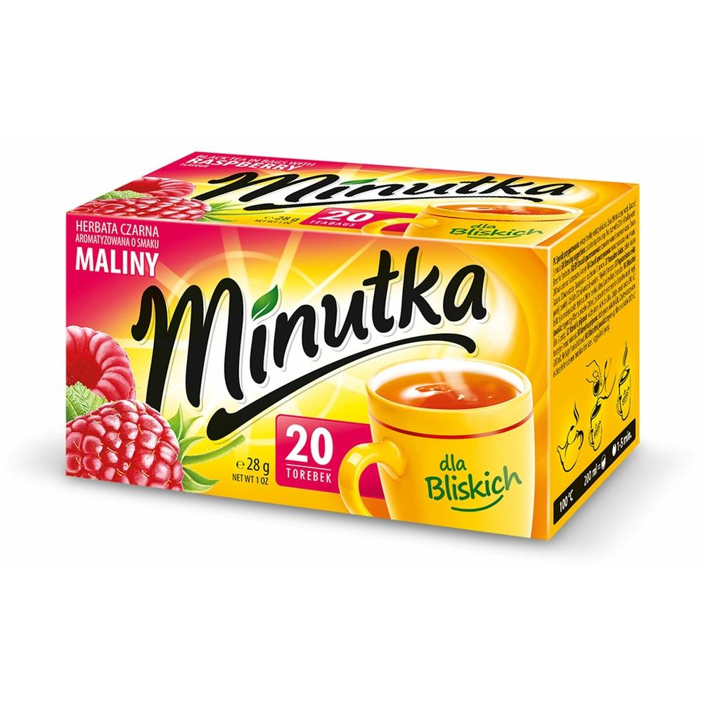 MINUTKA CZARNA 20 TOREBEK O SMAKU MALINY 28G