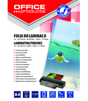 FOLIA DO LAMINOWANIA OFFICE PRODUCTS A4 2X100MIKR BŁYSZCZĄCA 100SZT TRANSPAREN