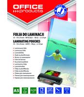 FOLIA DO LAMINOWANIA OFFICE PRODUCTS A5 2X125MIKR BŁYSZCZĄCA 100SZT TRANSPARENTNA
