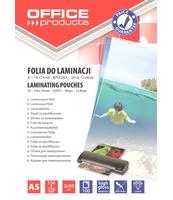 FOLIA DO LAMINOWANIA OFFICE PRODUCTS A5 2X80MIKR BŁYSZCZĄCA 100SZT TRANSPARENTNA