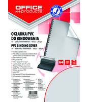 OKŁADKI DO BINDOWANIA OFFICE PRODUCTS, PVC, A4, 200MIKR., 100SZT., SZARE TRANSPARENTNE