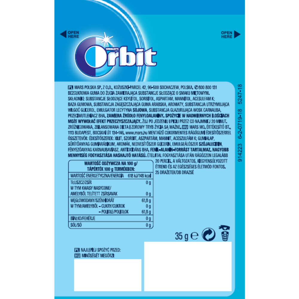 ORBIT PEPPERMINT 25 DRAŻETEK/35G
