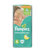 PAMPERS ACTIVE BABY-DRY PIELUCHY 6 EXTRA LARGE 56 SZT.