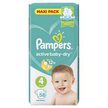 PAMPERS ACTIVE BABY-DRY PIELUCHY 4 MAXI 58 SZT.