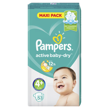 PAMPERS ACTIVE BABY-DRY PIELUCHY 4+ MAXI PLUS 53 SZT.