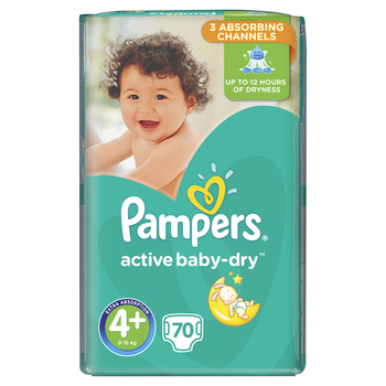PAMPERS ACTIVE BABY-DRY PIELUCHY 4+ MAXI PLUS 70 SZT.