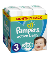 PAMPERS ACTIVE BABY ROZMIAR 3, 208 PIELUSZEK, 6-10 KG (MONTHLY BOX)