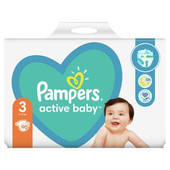 PAMPERS ACTIVE BABY ROZMIAR 3, 90 PIELUSZEK, 6-10 KG