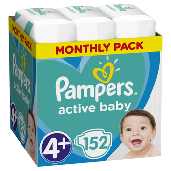 PAMPERS ACTIVE BABY ROZMIAR 4+, 152 PIELUSZKI, 10-15 KG (MONTHLY BOX)
