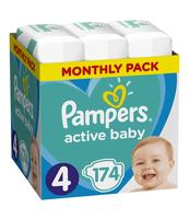 PAMPERS ACTIVE BABY ROZMIAR 4, 174 PIELUSZKI, 9-14 KG (MONTHLY BOX)